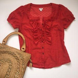 Anthropologie Odille Ruffle Shirt Button Swiss Dot